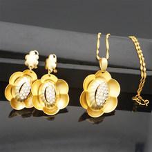 תכשיטי סטים לנשים שרשרת עגילי תליון גדול עגול חתונה תכשיטי מתנות(China)