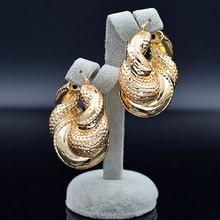 סאני תכשיטי נשים גדול תכשיטי סטי שרשרת עגילי תליון רומנטי גיאומטרי תכשיטי חתונת נחושת ממצאי תכשיטים(China)