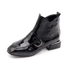 2019 Chic Frauen Stiefel Glänzende PU Leder Herbst Winter Schuhe Frau Spuare Kappe Block Heels Stiefeletten Weibliche Botas Zapatos mujer(China)