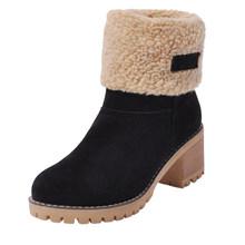 DORATASIA Sıcak Satış Artı boyutu 34-46 kadın platformu kar botları 6 cm yüksek topuklar kadın kış çevirmeli kenar kürk bot ayakkabı kadın(China)
