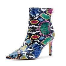 WETKISS Renkli Yılan Derisi Pu yarım çizmeler Kadınlar Yüksek Topuklu Patik parti ayakkabıları Kadın Sivri Burun Ayakkabı Bayan Kış Büyük Boy 45(China)