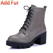 Karinluna 2019 dropship büyük boy 43 moda Kadın Ayakkabı kare topuklu çizmeler Martin Kadın Ayakkabı eğlence yarım çizmeler kadın(China)