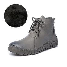 Fujin Da Thật Chính Hãng Da Giày Bốt Nữ Tuyết Sang Trọng Phẳng Boot Mềm Da Bò Nam Nữ Trước Mắt Cá Chân Giày Zapatos Mujer ủng(China)