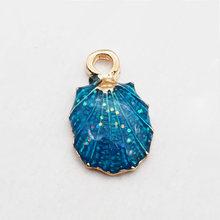 Hot Sell13/15/pcs/set Bonito Colorido Seashell Pingente Oceano Shell Pingentes Tomada de Feito À Mão Acessórios de Artesanato Ou decoratio(China)