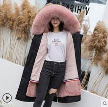 2019 Winter Thicker Warm Parkas Fox Natural Fur Hooded Women Green Coats and Jackets Rabbit Fur Lining Long Sleeve Female Coat(China)