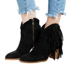 Cysincos mulheres tornozelo botas curtas borlas dedo do pé redondo fivela cinta botas estilo étnico quente não-deslizamento botas sapato para senhora botas mujer(China)