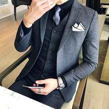 Musim Gugur Kostum Homme Prom Perapi Mens Merokok Homme Mariage Desainer Pakaian Bisnis Ternos untuk Hombre Formal Anzug 3-Piece set(China)