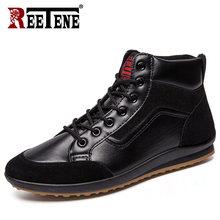 REETENE 2019 Neue Männer Leder Stiefel Mode Herbst Winter Warme Baumwolle Männer Stiefeletten Lace Up Männer Schuhe Schuhe Männer casual Schuhe(China)