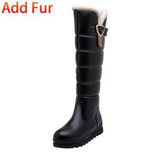 BONJOMARISA offre spéciale 32-43 hiver plate-forme fourrure bottes dames genou haute neige bottes femmes 2020 imperméable chaussures à semelles compensées femme(China)