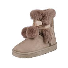 2019 yeni rusya kış botları sıcak peluş kar botları çizmeler düz topuk kürk topu yay yumuşak konfor platformu pembe kürklü çizmeler kadın ayakkabıları(China)