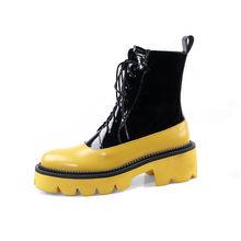 Prova Perfetto Donne di Spessore Stivali Da Neve di Fondo 2019 Lace Up Martin Stivali Alla Caviglia Femminile Militare Lace up Inverno Caldo Della Piattaforma stivali(China)