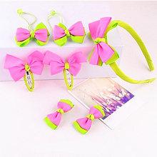 7 unids/set diadema para niños horquillas Clip lateral para el cabello para niñas diadema Rosa Diadema con lazo Accesorios(China)