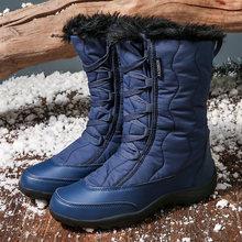 HZXINLIVE теплые зимние ботинки женские зимние ботинки водонепроницаемые ботинки черного цвета размера плюс ботинки до середины икры на толсто...(China)
