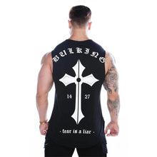 2019 Pria Binaraga Kurus Tank Top Gym Kebugaran Katun Tanpa Lengan Kemeja CrossFit Pakaian Pria Musim Panas Singlet Undershirt(China)
