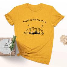 Bulan Bintang Planet Grafis Atas Tidak Ada Planet B T-shirt Lucu Planet Slogan Kristen Bergaya Tee Feminis Vintage Kemeja(China)