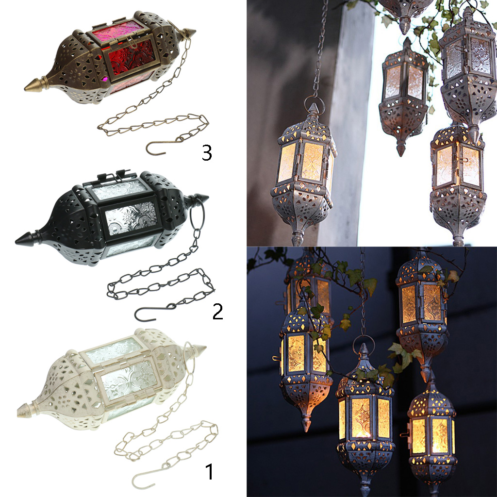 Vintage Metal Hollow Hanging Candle Holder Moroccan Glass Candle Lanterns Hanging Tea Light Candlesticks for Wedding Party Home