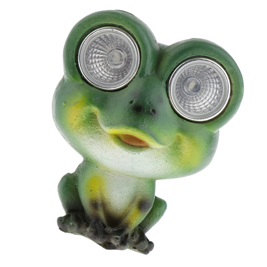 Green Frog Resin Animal Solar Figurine Lights Garden Decor LEDs Small Outdoor Lighting for Yard Patio