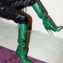 Renkli yılan cilt çizmeler kadın yüksek topuklu ince yüksek topuk diz botu bahar rahat ayakkabı üzerinde kayma düz çizmeler Slouch(China)