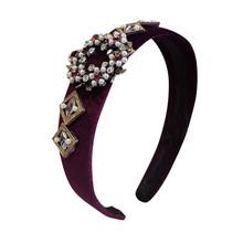 新ヘアバンド結婚式のヘア豪華キラキラグレークリスタルカチューシャブライダル石ラインストーンヘッドバンド女性の髪の宝石 1111(China)