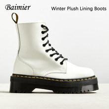 Baimier Siyah Martin çizmeler kadınlar Kalın platform ayak bileği bağcığı botları kadın kış sıcak Tutmak düz kadın ayakkabı(China)