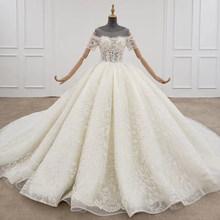 HTL1297 белое платье для свадьбы, длинное бальное платье со шнуровкой и коротким рукавом(China)