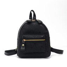 2019 Новая модная женская двойная сумка через плечо, кожаный маленький рюкзак, маленький рюкзак, мини рюкзак, рюкзак(China)