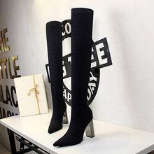 2020 yeni kadın yüksek çizmeler over-the-diz çizmeler kadın ince uyluk yüksek çizmeler yüksek topuklu diz yüksek çizmeler kadın ayakkabıları Bigtree ayakkabı(China)
