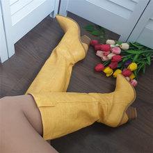Meotina Winter Geprägt Kniehohe Stiefel Frauen Seltsame Stil High Heel Western Stiefel Spitz Hohe Schuhe Herbst Gold Größe 3-12(China)