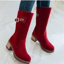 Kış kadın akın kar botları kalın topuk diz çizmeler üzerinde kadın platformu sıcak kadın ayakkabı kahverengi binici botları ayakkabı(China)