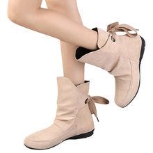 Kadın Akın Peluş Taban Kar Botları Sonbahar Kış Bayanlar Ayakkabı kadın Lace Up Toka Roma Ayak Bileği kısa çizmeler chaussures femme(China)