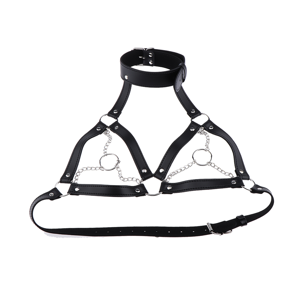 Sexy Black Leather Cage Bra Harness Straps Gothic Steampunk Costume Top for Women