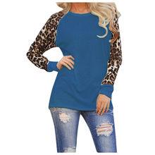 Женская летняя футболка 2019 повседневные свободные футболки с длинными рукавами сексуальная леопардовая Лоскутная футболка Femme женские дли...(China)