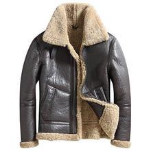 冬可逆摩耗本物の毛皮ショートコートの男性ラグジュアリーラペルロングスリーブ本物の羊バイカージャケットカジュアル暖かい生き抜くプラスサイズ 5XL(China)