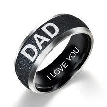 Персонализированные кольца из нержавеющей стали для женщин модные мужские черные кольца с буквами мама украшения для папы детское кольцо п...(China)