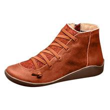 Kadın PU deri yarım çizmeler kadın sonbahar kış çapraz Strappy Vintage kadınlar serseri çizmeler düz bayan ayakkabıları kadın Botas Mujer(China)