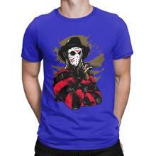 Mode Freddy Vs Jason t-shirt pour hommes 100 pour cent coton t-shirt film d'horreur effrayant vendredi le 13th Voorhees(China)