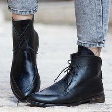 Caricamenti del Sistema della caviglia Delle Donne Della Rappezzatura DELL'UNITÀ di elaborazione di Scarpe di Cuoio Delle Signore Lace Up Fibbia Scarpe Tacco di Spessore di Avvio a Breve di casual Calzature Botas Feminina(China)