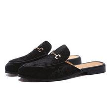 Giày Nam Da Lộn Da Hở Lưng Trơn Đầm Dép Trên Hở Lưng Nhung Cho Nữ Giày Lười Người Nửa Để Giày nam Size 6 ~ 13(China)