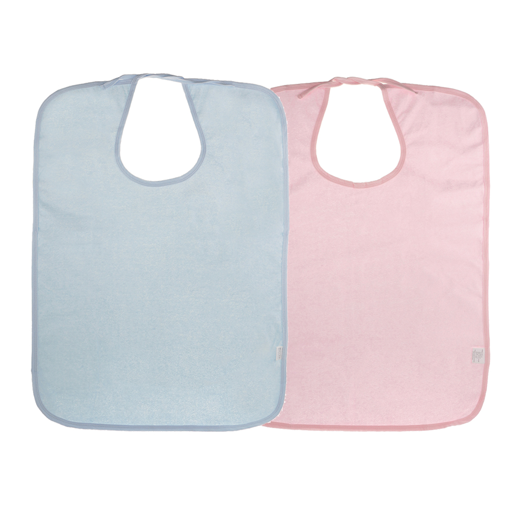 2 Pieces Adult Disability Bib Mealtime Cloth Protector Apron Waterproof Pink Blue