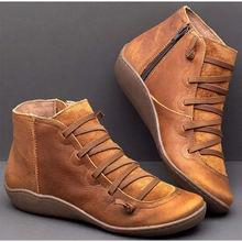 Mắt Cá Chân Giày Bốt Nữ Da PU Khóa Kéo Vintage Nữ Phẳng Dây Đeo Chéo Người Phụ Nữ Giày Đế Xuồng Nữ Nữ Cổ Ngắn Tăng 2019(China)