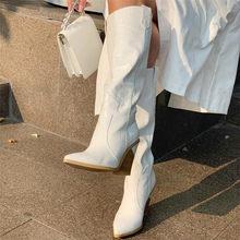 Meotina Winter Reliëf Knie Hoge Laarzen Vrouwen Vreemde Stijl Hoge Hak Westerse Laarzen Wees Teen Tall Schoenen Herfst Goud Maat 3-12(China)