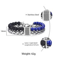 Trendsmax Natural Map Stone Men's Beaded Bracelet for women Stainless Steel Bracelets Male Jewelry Tiger eye 8 9 10 inch DB33(Hong Kong,China)
