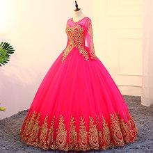 فستان الزفاف الذهب الدانتيل يزين س الرقبة الوردي الزفاف فساتين زائد حجم طويلة كم التطريز مسلم Vestido دي Novia CH238(China)