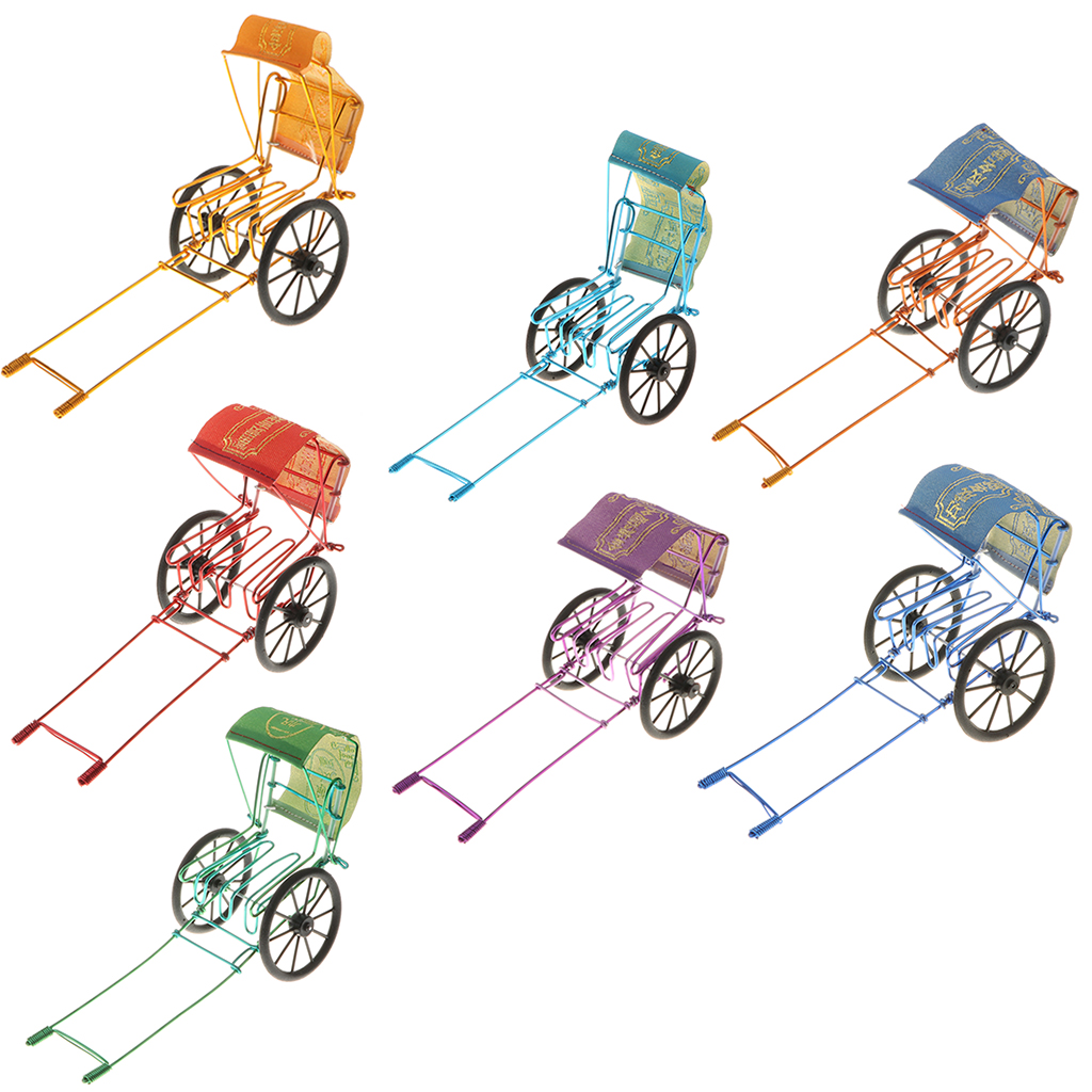 Retro Metal Art Craft Rickshaw Model Figurine Showcase Model Display Collectible Vehicles
