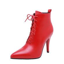 ASUMER PLUS ขนาด 34-48 รองเท้าแฟชั่น pointed Toe Lace Up รองเท้าฤดูใบไม้ร่วงฤดูหนาวสุภาพสตรี PROM รองเท้าผู้หญิง 2020 ให...(China)