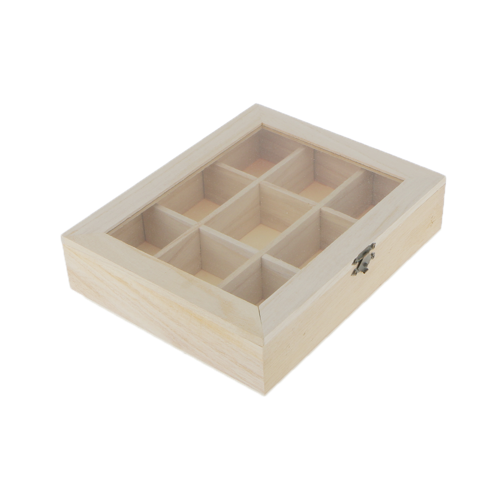 Unfinished Unpainted Plain Wooden Jewlry Box 9 Grids Keepsake Gift