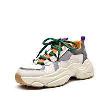 Beautoday Chunky Sneakers Vrouwen Echt Koe Lederen Cross-Gebonden Retro Platform Wig Mode Schoenen Gemengde Kleuren Handgemaakte 29324(China)