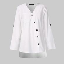 Celmia, женские повседневные винтажные рубашки с v-образным вырезом и длинным рукавом, осенняя мешковатая блузка на пуговицах, асимметричные т...(China)