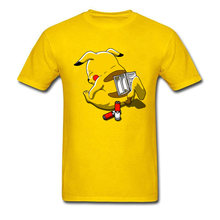 Déchargé Pikachu faible batterie Pokemon T Shirt noël hauts t-shirts à manches courtes pour hommes 100% coton tissu Comics t-shirts hommes(China)