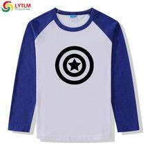 LYTLM الأعجوبة المنتقمون الملابس الفتيان بلايز نقيب أمريكا درع T قميص XXX الفتيان و الفتيات القطن الاطفال قمم طويلة الأكمام العمر 8(China)